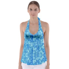 Light Circles, dark and light blue color Babydoll Tankini Top