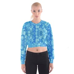 Light Circles, dark and light blue color Women s Cropped Sweatshirt