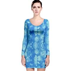 Light Circles, dark and light blue color Long Sleeve Velvet Bodycon Dress