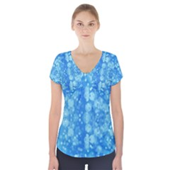 Light Circles, dark and light blue color Short Sleeve Front Detail Top
