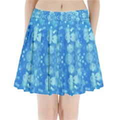 Light Circles, dark and light blue color Pleated Mini Skirt
