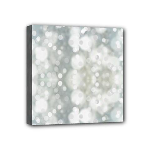 Light Circles, blue gray white colors Mini Canvas 4  x 4