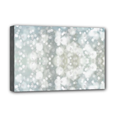 Light Circles, blue gray white colors Deluxe Canvas 18  x 12