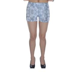 Light Circles, blue gray white colors Skinny Shorts