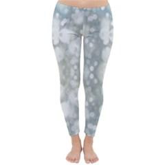 Light Circles, blue gray white colors Classic Winter Leggings