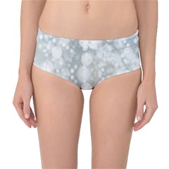 Light Circles, blue gray white colors Mid-Waist Bikini Bottoms