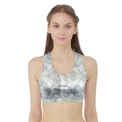 Light Circles, blue gray white colors Sports Bra with Border