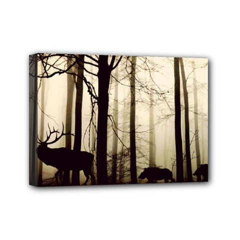 Forest Fog Hirsch Wild Boars Mini Canvas 7  x 5