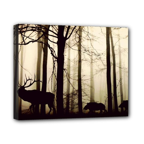 Forest Fog Hirsch Wild Boars Canvas 10  x 8