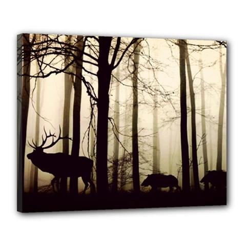 Forest Fog Hirsch Wild Boars Canvas 20  x 16