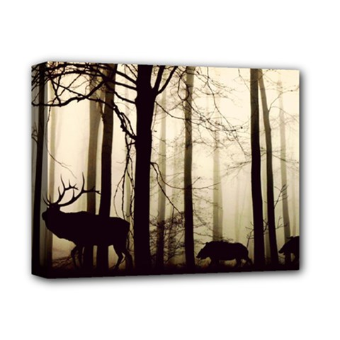 Forest Fog Hirsch Wild Boars Deluxe Canvas 14  x 11