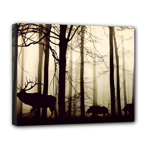 Forest Fog Hirsch Wild Boars Deluxe Canvas 20  x 16