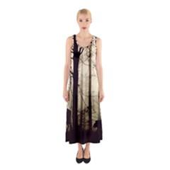 Forest Fog Hirsch Wild Boars Sleeveless Maxi Dress