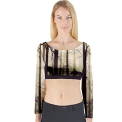 Forest Fog Hirsch Wild Boars Long Sleeve Crop Top