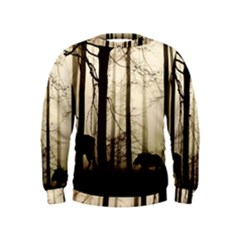 Forest Fog Hirsch Wild Boars Kids  Sweatshirt