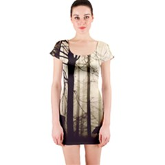 Forest Fog Hirsch Wild Boars Short Sleeve Bodycon Dress