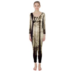 Forest Fog Hirsch Wild Boars Long Sleeve Catsuit