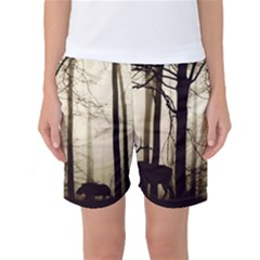 Forest Fog Hirsch Wild Boars Women s Basketball Shorts