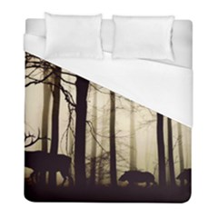 Forest Fog Hirsch Wild Boars Duvet Cover (Full/ Double Size)