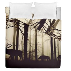 Forest Fog Hirsch Wild Boars Duvet Cover Double Side (Queen Size)
