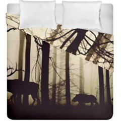 Forest Fog Hirsch Wild Boars Duvet Cover Double Side (King Size)