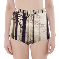 Forest Fog Hirsch Wild Boars High-Waisted Bikini Bottoms