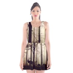Forest Fog Hirsch Wild Boars Scoop Neck Skater Dress