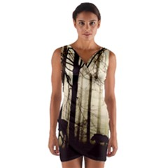 Forest Fog Hirsch Wild Boars Wrap Front Bodycon Dress