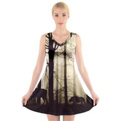 Forest Fog Hirsch Wild Boars V-Neck Sleeveless Skater Dress