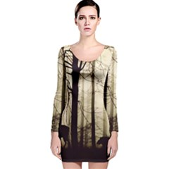Forest Fog Hirsch Wild Boars Long Sleeve Velvet Bodycon Dress