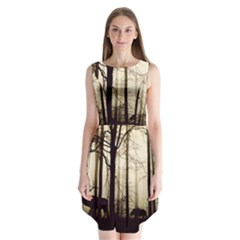 Forest Fog Hirsch Wild Boars Sleeveless Chiffon Dress