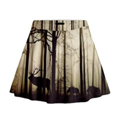 Forest Fog Hirsch Wild Boars Mini Flare Skirt
