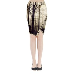 Forest Fog Hirsch Wild Boars Midi Wrap Pencil Skirt