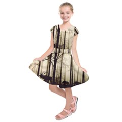 Forest Fog Hirsch Wild Boars Kids  Short Sleeve Dress