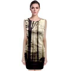 Forest Fog Hirsch Wild Boars Sleeveless Velvet Midi Dress