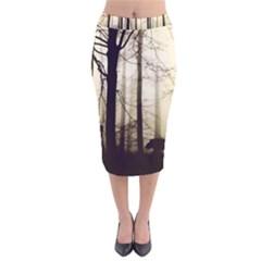 Forest Fog Hirsch Wild Boars Velvet Midi Pencil Skirt
