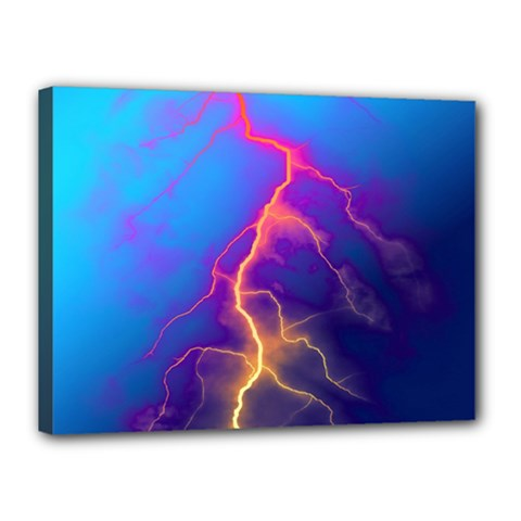Lightning colors, blue sky, pink orange yellow Canvas 16  x 12