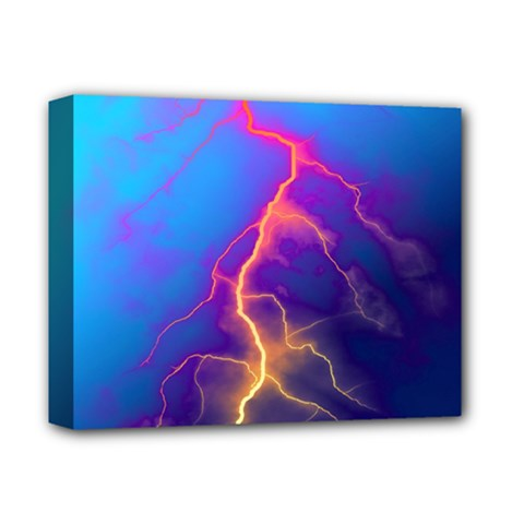 Lightning colors, blue sky, pink orange yellow Deluxe Canvas 14  x 11