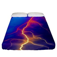 Lightning Colors, Blue Sky, Pink Orange Yellow Fitted Sheet (queen Size)