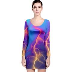 Lightning colors, blue sky, pink orange yellow Long Sleeve Velvet Bodycon Dress
