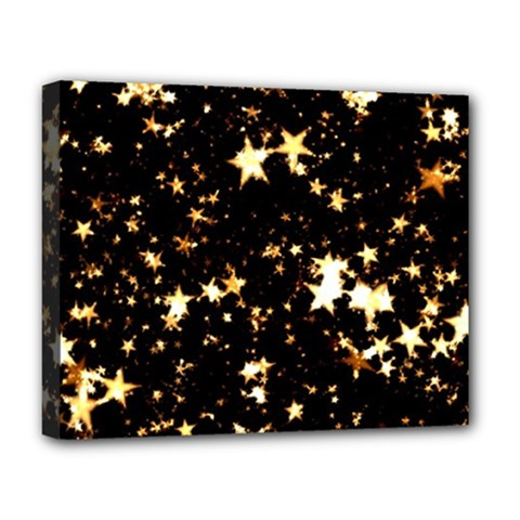 Golden stars in the sky Deluxe Canvas 20  x 16