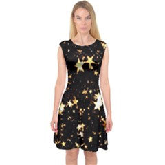 Golden stars in the sky Capsleeve Midi Dress