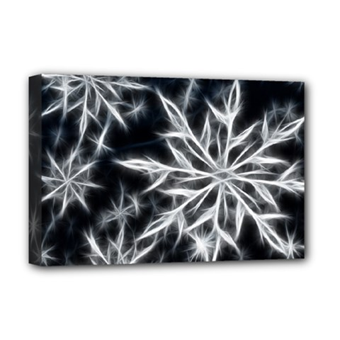 Snowflake in feather look, black and white Deluxe Canvas 18  x 12