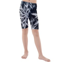 Snowflake in feather look, black and white Kids  Mid Length Swim Shorts