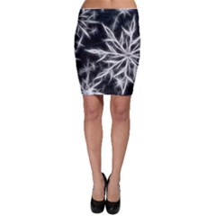 Snowflake in feather look, black and white Bodycon Skirt