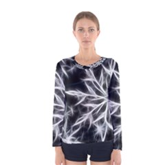 Snowflake in feather look, black and white Women s Long Sleeve Tee