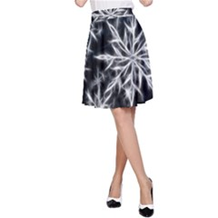 Snowflake in feather look, black and white A-Line Skirt