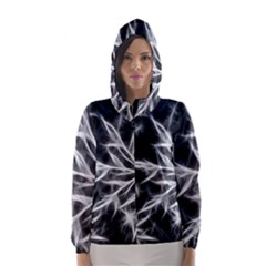 Snowflake in feather look, black and white Hooded Wind Breaker (Women)