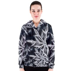 Snowflake in feather look, black and white Women s Zipper Hoodie