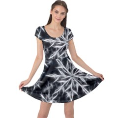 Snowflake in feather look, black and white Cap Sleeve Dresses